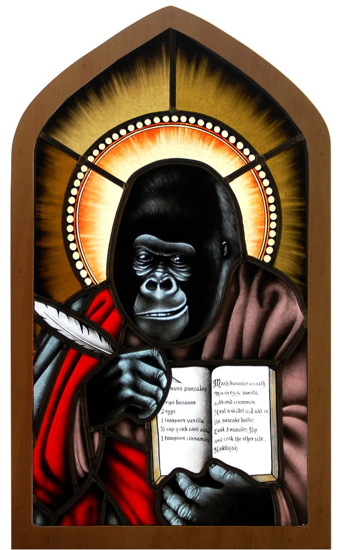 glas in lood aap / stained glass holy monkey