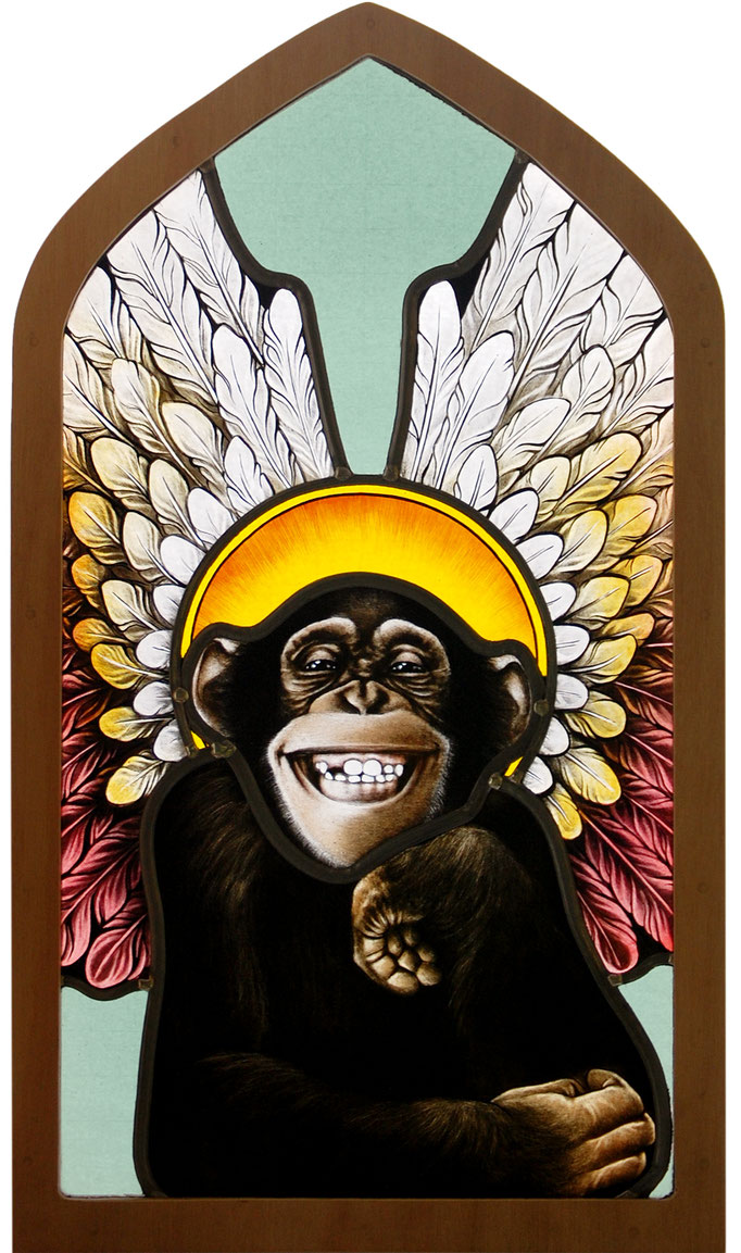 glas in lood heilig aapje / stained glass monkey
