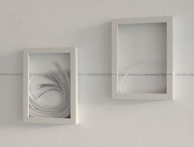 o.T., 2017, Papier, Holzrahmen, jeweils 13cmx18cm, Foto Stefanie Kohr