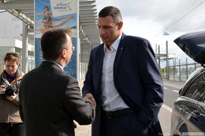 """Dr. Vitali Klitschko als Vorsitzender seiner Ukrainischen Partei """"UDAR"""" zu Gast in Erfurt."""