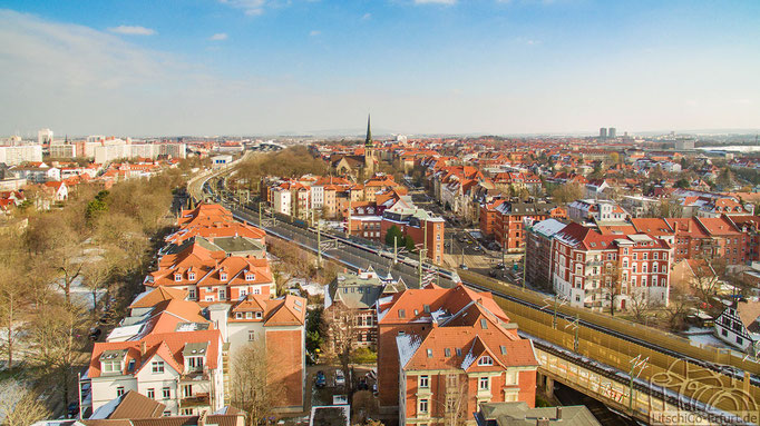 Ausblick über Erfurt in Richtung Bahnhof