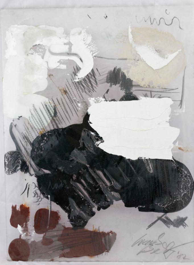 Zwischen den Stühlen, Farbe auf und zwischen Glasplatten, 1984