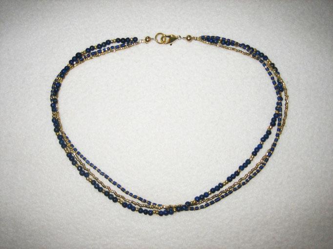 Lapislazuli, vergoldete Perlen