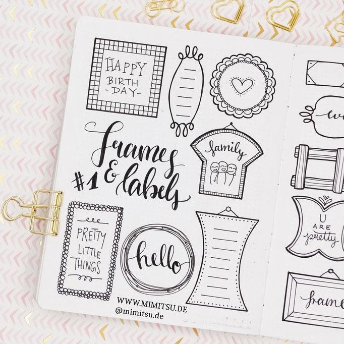 Doodle Illustration Bullet Journal und Sketchnotes Frames Rahmen 6