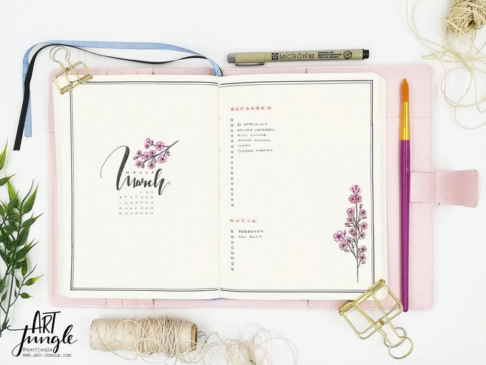 March März Bullet Journal Monat Monthlyspread cherry blossom