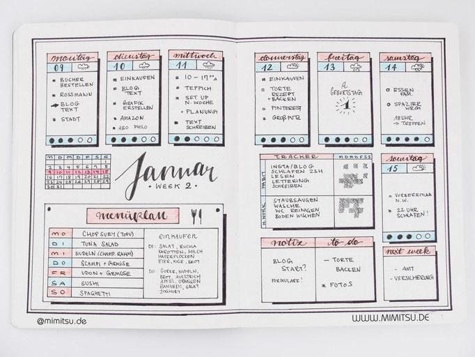 Bullet Journal Woche Januar Weekly 2 - Wochenübersicht