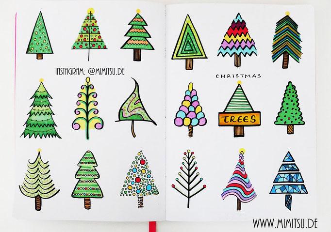 Doodle Illustration Bullet Journal und Sketchnotes Weihnachtsbaum Christmastree