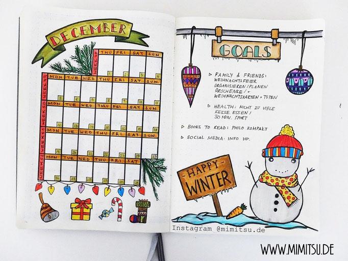Dezember Bullet Journal Monat Monthlyspread