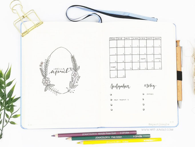 April Bullet Journal Monat Monthlyspread Easter Ostern