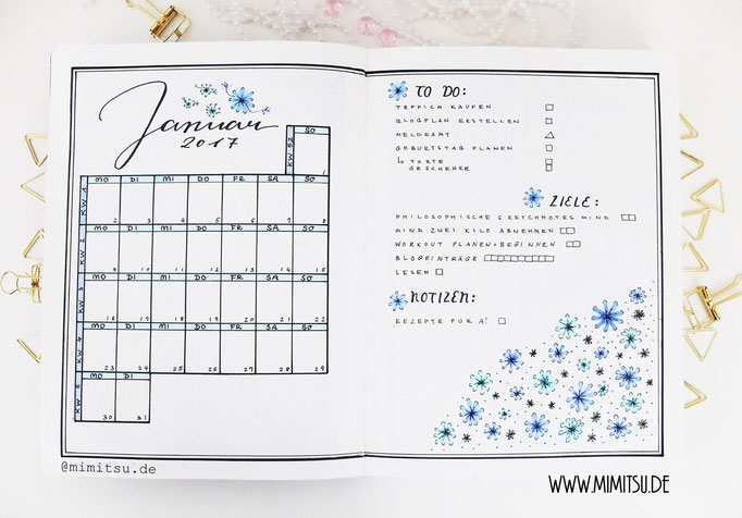 Januar Bullet Journal Monat Monthlyspread