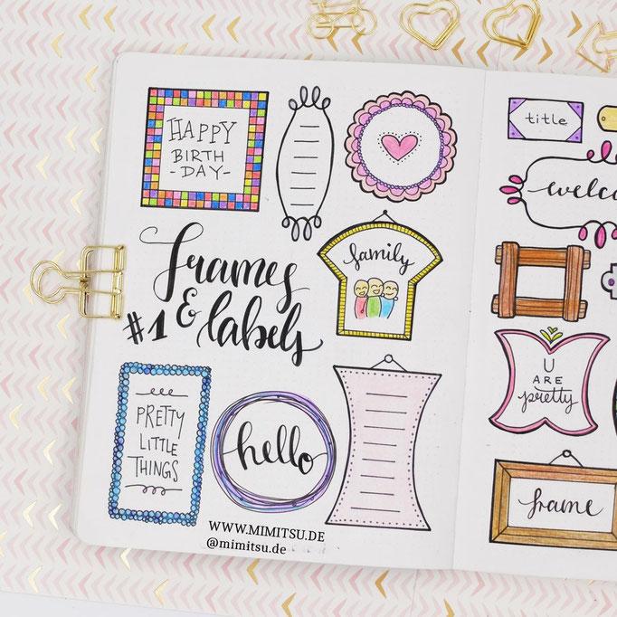 Doodle Illustration Bullet Journal und Sketchnotes Frames Rahmen 2