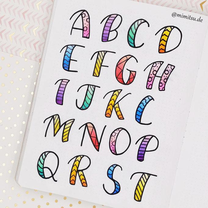 Doodle Illustration Bullet Journal und Sketchnotes Alphabet 1