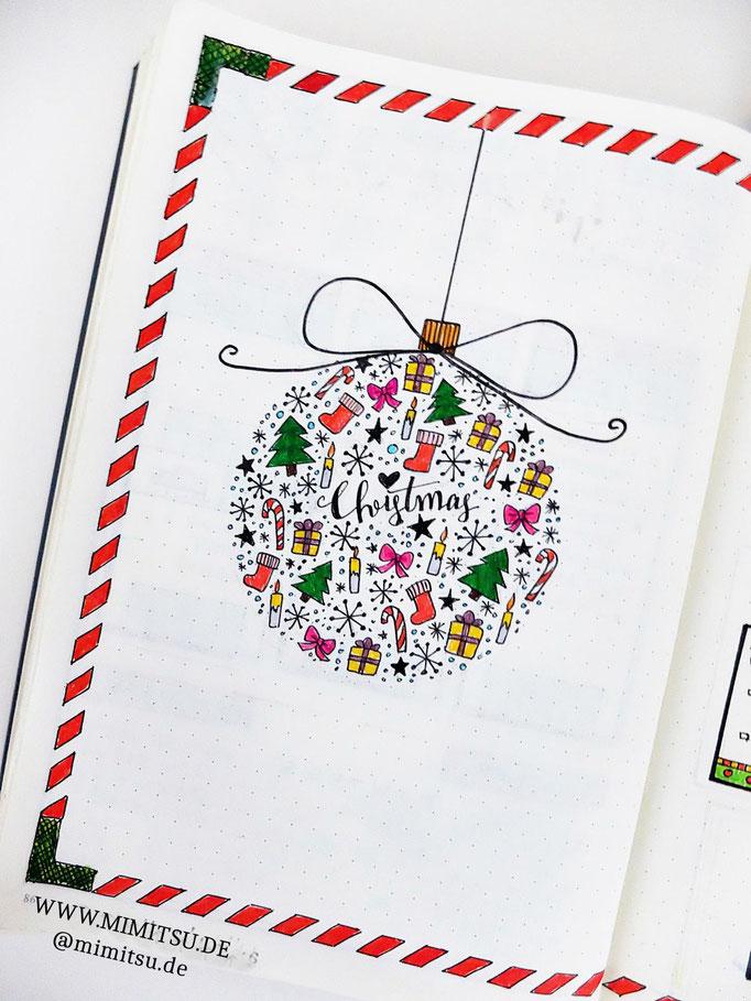 Doodle Illustration Bullet Journal und Sketchnotes Christmas Kugel