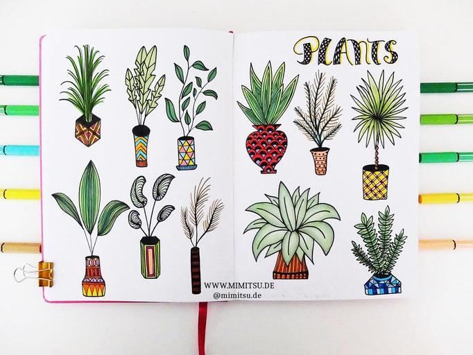 Doodle Illustration Bullet Journal und Sketchnotes Pflanzen Plants