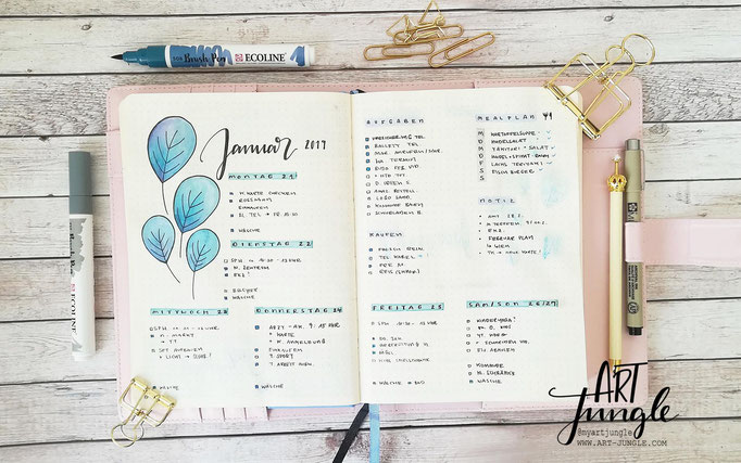 Bullet Journal Woche Januar Weekly 1 - Wochenübersicht - Doodle leaves watercolor