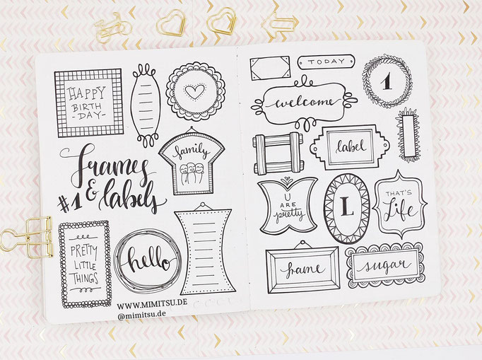 Doodle Illustration Bullet Journal und Sketchnotes Frames Rahmen 4