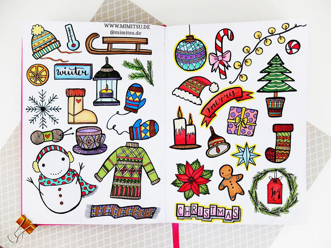 Doodle Illustration Bullet Journal und Sketchnotes Winter