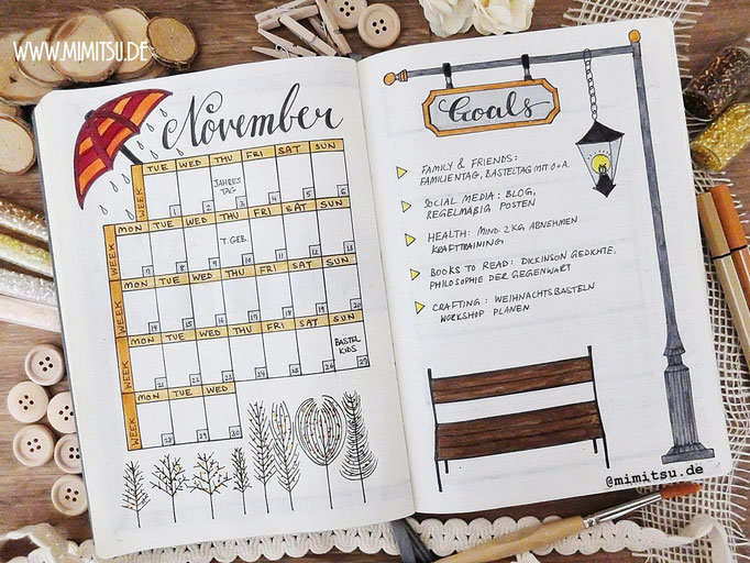 November Bullet Journal Monat Monthlyspread