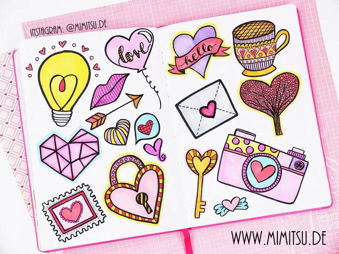 Doodle Illustration Bullet Journal und Sketchnotes Valentinstag Love Liebe