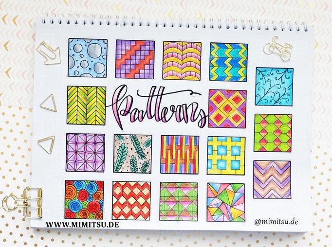 Doodle Illustration Bullet Journal und Sketchnotes Patterns Muster