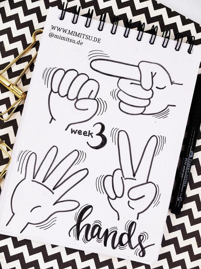 Doodle Illustration Bullet Journal und Sketchnotes Hands Hände