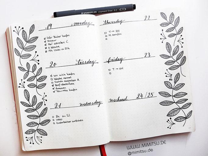 Bullet Journal Woche Oktober Weekly 16 - Wochenübersicht