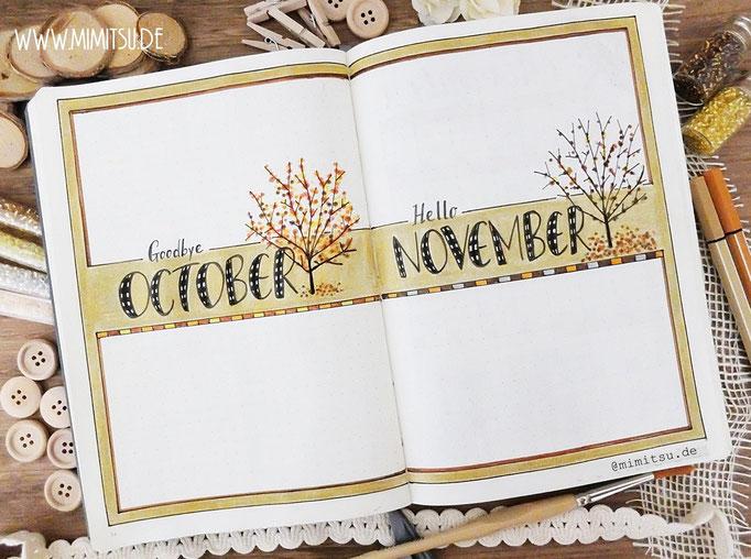 Bullet Journal Cover Title Monat Oktober November