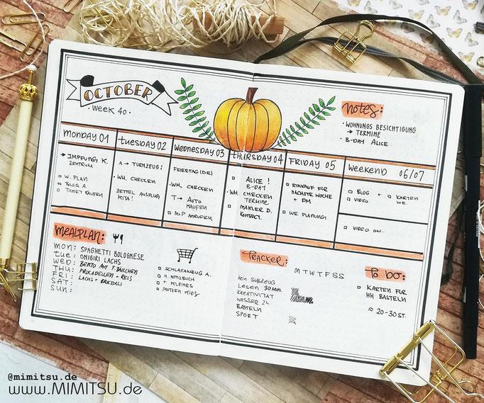 Bullet Journal Woche Oktober Herbst Weekly 1 - Wochenübersicht