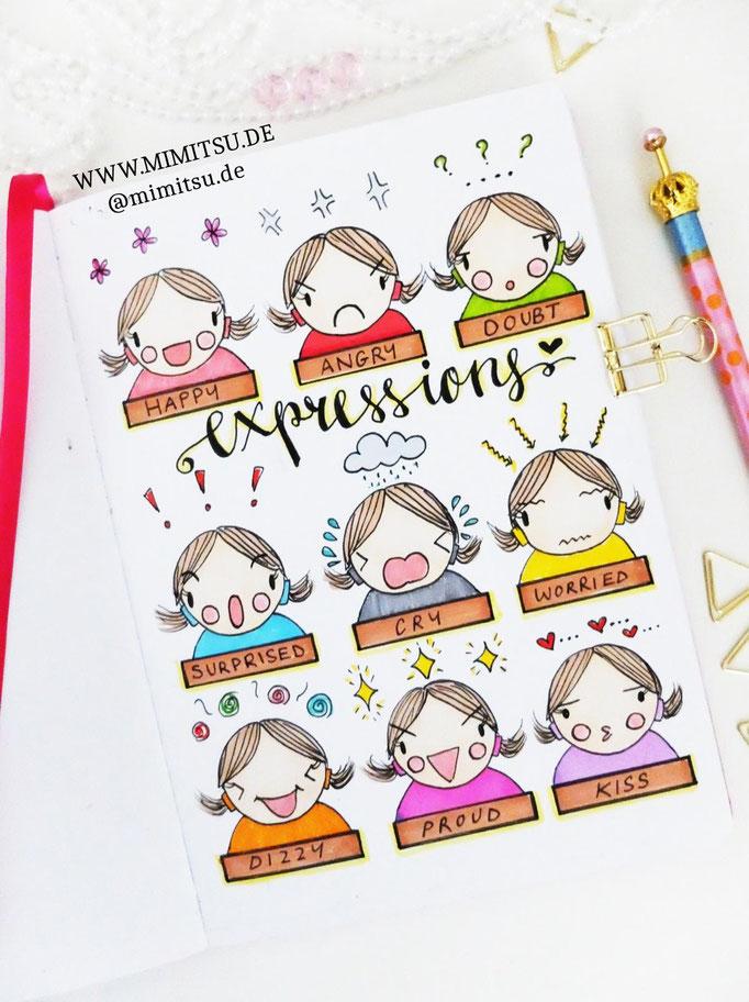 Doodle Illustration Bullet Journal und Sketchnotes Expressions Gesichtsausdruck