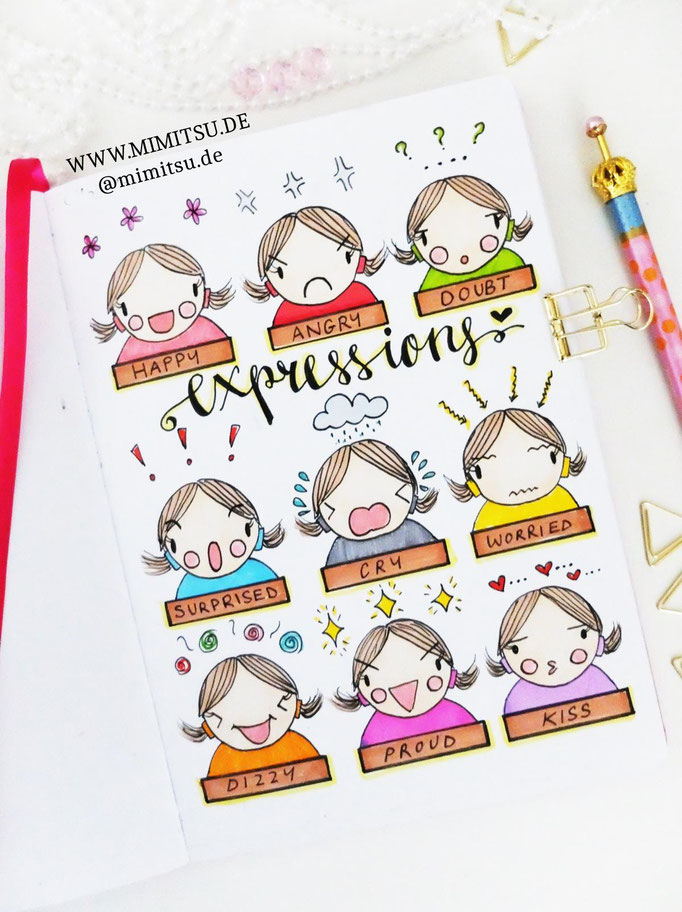 Doodle Illustration Bullet Journal und Sketchnotes Expressions Gesichtsausdruck