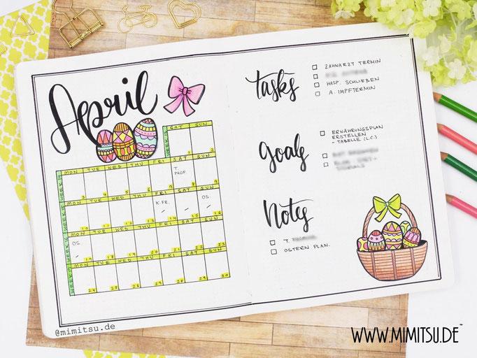 April Ostern Bullet Journal Monat Monthly