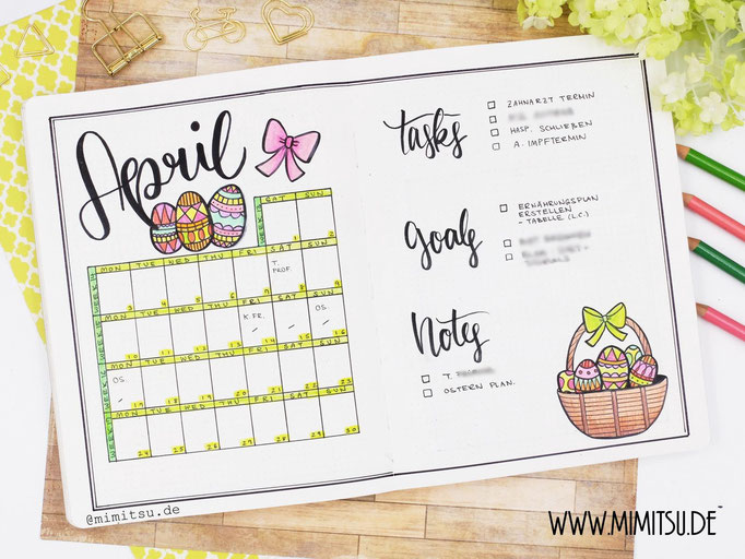 April Ostern Bullet Journal Monat Monthlyspread