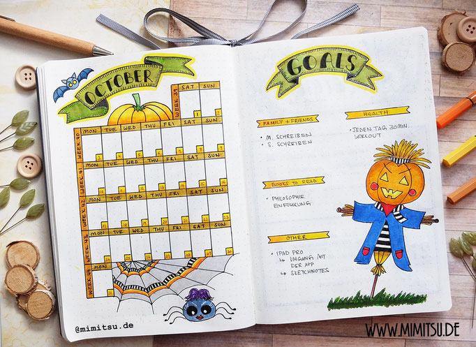 Oktober Bullet Journal Monat Monthly 16