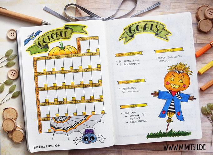 Oktober Bullet Journal Monat Monthly 16