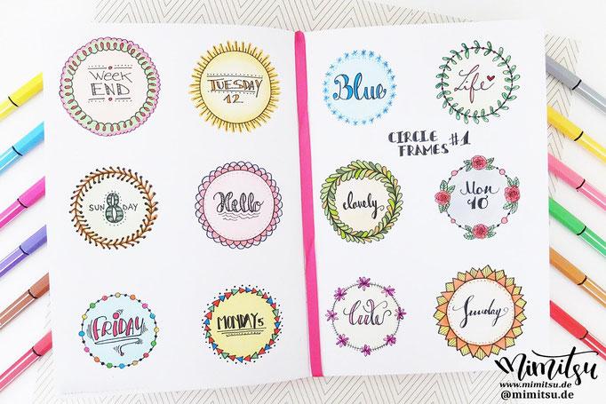 Doodle Illustration Bullet Journal und Sketchnotes Circle Frames Rahmen