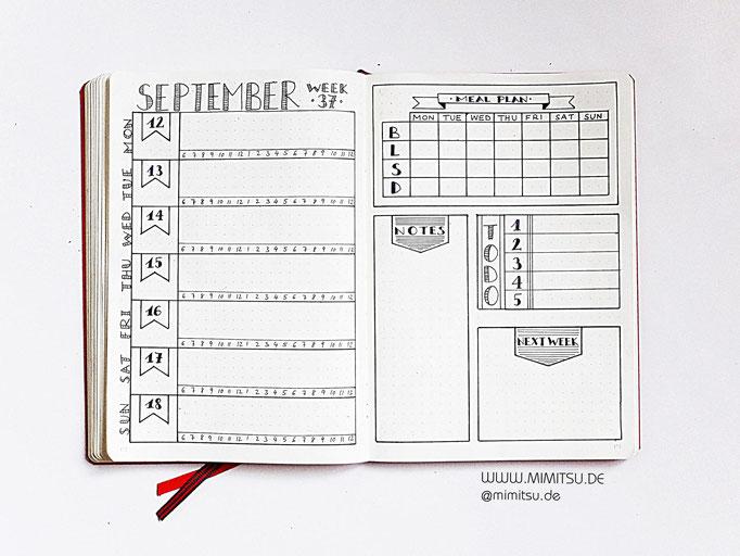 Bullet Journal Woche September Weekly 16 - Wochenübersicht