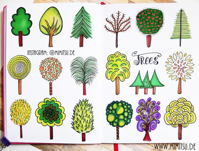 Doodle Illustration Bullet Journal und Sketchnotes Bäume Baum Trees