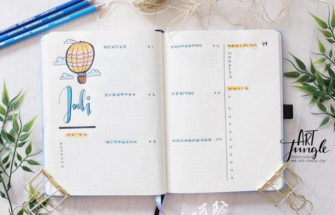 Bullet Journal Woche Juli July Weekly 3 - Wochenübersicht - Doodle Heißluftballon hot air balloon
