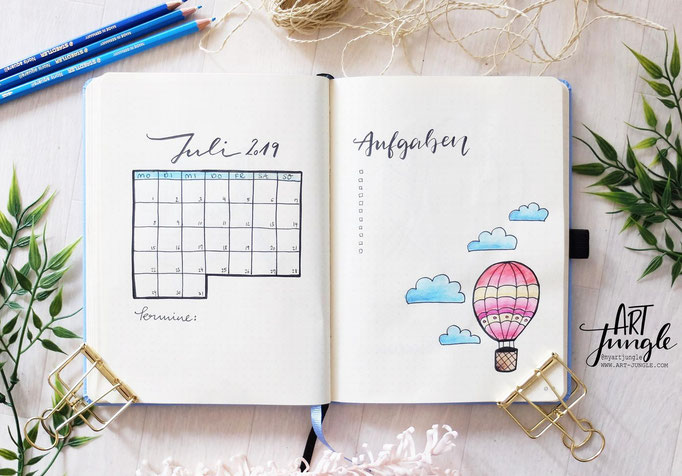 Juli July Bullet Journal Monat Monthlyspread hot air balloon Heißluftballon