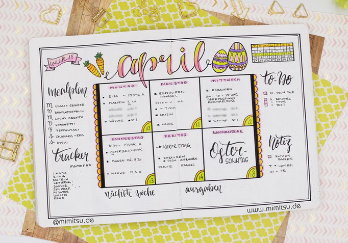 Bullet Journal Woche April Weekly 3 - Wochenübersicht