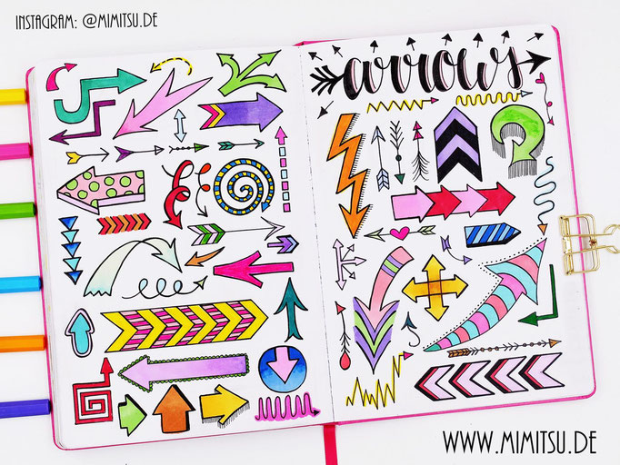 Doodle Illustration Bullet Journal und Sketchnotes Pfeile Arrows
