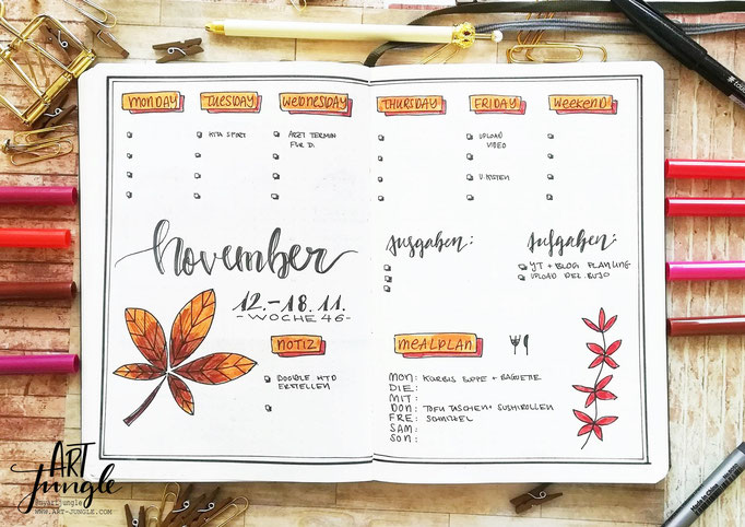 Bullet Journal Woche November Weekly 2 - Wochenübersicht Blatt leaf