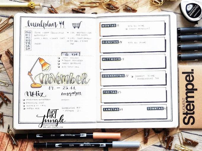 Bullet Journal Woche November Weekly 3 - Wochenübersicht -Tischlampe lamp