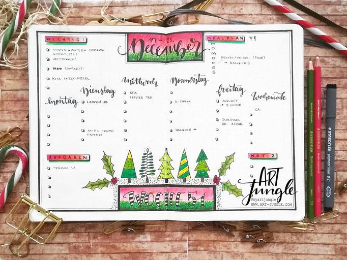 Bullet Journal Woche Dezember Weekly 1 - Wochenübersicht - christmas tree