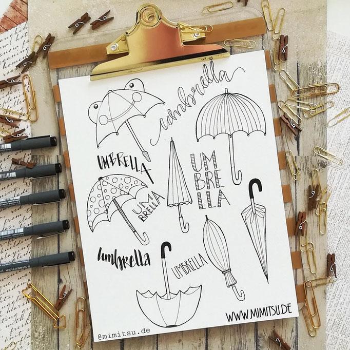 Doodle Illustration Bullet Journal und Sketchnotes Umbrella Regenschirm