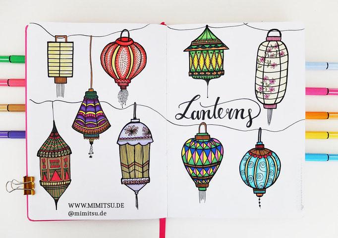 Doodle Illustration Bullet Journal und Sketchnotes Laternen Lanterns