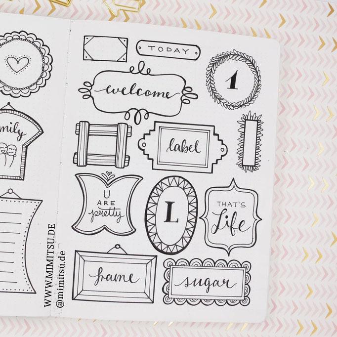 Doodle Illustration Bullet Journal und Sketchnotes Frames Rahmen 5