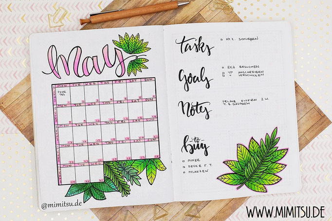 May Bullet Journal Monat Monthlyspread tropical