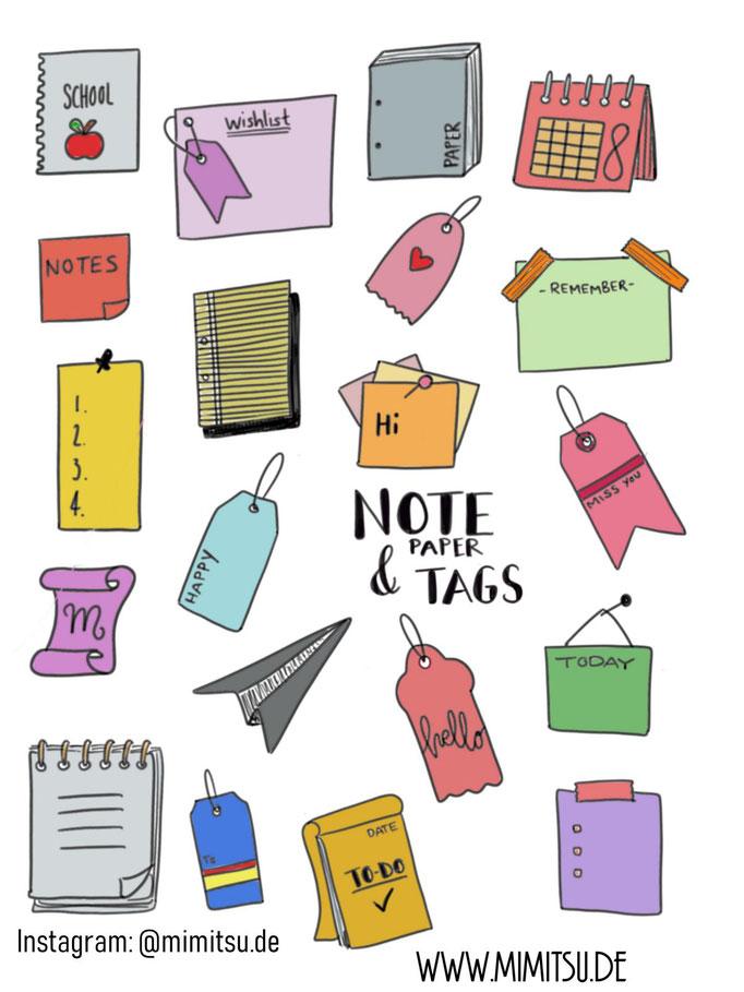 Doodle Illustration Bullet Journal und Sketchnotes Notepapers Papier digital