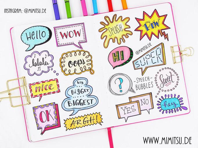 Doodle Illustration Bullet Journal und Sketchnotes Speech Bubbles Sprechblasen